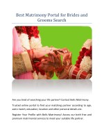 Best Matrimony Portal for Brides and Grooms Search