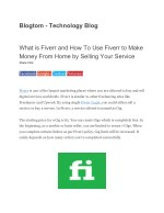 How To Use Fiverr to Make Money From Home by Selling Your Service