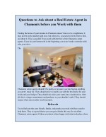 Questions to Ask about a Real Estate Agent in Chamonix before you Work with them
