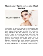Mesotherapy For Face: Look And Feel Younger