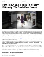 How To Run SEO In Fashion Industry Efficiently The Guide From Semalt