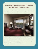 Best Travel Package For Egypt's Pyramids and Nile River Cruise Vacation