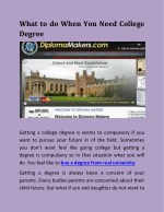 What to do When You Need College Degree