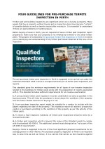 FOUR GUIDELINES FOR PRE-PURCHASE TERMITE INSPECTION IN PERTH