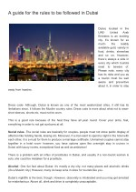 A guide for the rules to be followed in Dubai