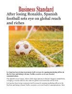 After losing Ronaldo, Spanish football sets eye on global reach and riches