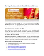 Marriage Matrimonials for Tamil Brides and Grooms