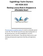 Renting Luxury Boat in Singapore is Affordable Now!!