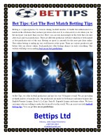 Bet Tips: Get The Best Match Betting Tips