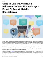 Scraped Content And How It Influence On Your Site Rankings - Expert Of Semalt, Natalia Khachaturyan