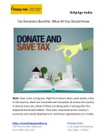 Tax Donations Benefits: What All You Should Know