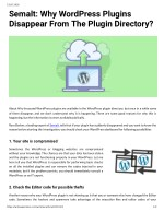 Semalt Why WordPress Plugins Disappear From The Plugin Directory