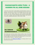 PRADHAN MANTRI AWAS YOJNA – A BLESSING FOR ALL HOME SEEKERS.