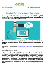 Blockchain Technology to Improve Data Security