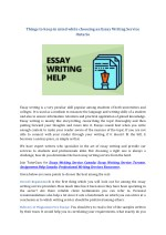 Things to keep in mind while choosing an Essay Writing Service Ontario