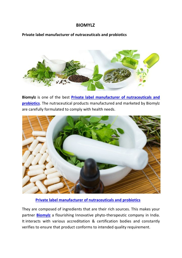 PPT - Private label manufacturer of nutraceuticals and probiotics