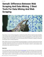 Semalt: Difference Between Web Scraping And Data Mining. 2 Best Tools For Data Mining And Web Scraping