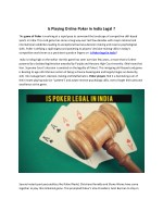 Is Playing Online Poker in India Legal ?