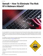 Semalt – How To Eliminate The Risk Of A Malware Attack?