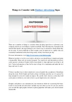 Things to Consider With Outdoor Advertising Signs