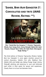 'Saheb, Biwi Aur Gangster 3': Convoluted and trite (IANS Review, Rating: **)