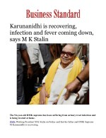 Karunanidhi is recovering, infection and fever coming down, says M K Stalin