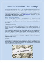 United Life Insurance & Other Offerings