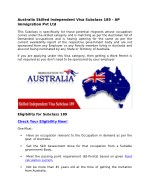 Australia Skilled Independent Visa Subclass 189-AP Immigration Pvt Ltd