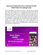 Educate & Entertain Users And Earn Easily With Video Streaming Script