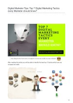 Digital Marketer Tips: Top 7 Digital Marketing Tactics every Marketer should know?