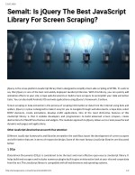 Semalt: Is jQuery The Best JavaScript Library For Screen Scraping?