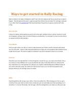 Ways to get started in Rally Racing