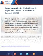 Breast Implant Device Market Forecasting to Development Ratio with Huge Marginal Revenue Analysis Detailing by 2021