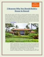 5 Reasons Why You Should Build a House In Hawaii | Compass Hawaii
