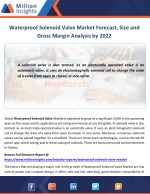 Waterproof Solenoid Valve Market Manufacturing Cost and Raw Materials Analysis from 2017-2022
