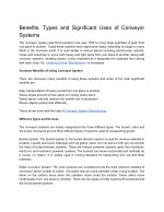 Benefits, Types and Significant Uses of Conveyor Systems