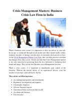 Crisis Management Masters: Top Business Crisis Law Firm in India