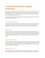 4 Home Remedies for Anxiety Treatment