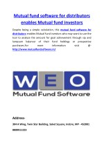 Mutual fund software for distributors enables Mutual fund investors