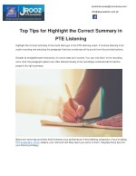 Top Tips for Highlight the Correct Summary in PTE Listening