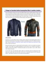 Things to Consider before buying Best Men's Leather Jackets