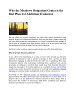 Why the Meadows Outpatient Center is the Best Place for Addiction Treatment