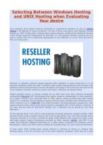 Selecting Between Windows Hosting and UNIX Hosting when Evaluating Your Desire