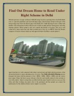 Find Out Dream Home to Rend Under Right Scheme in Delhi
