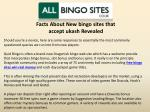 Facts About New bingo sites that accept ukash Revealed