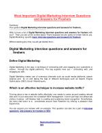 Most Important Digital Marketing Interview Questions and Answers for Freshers