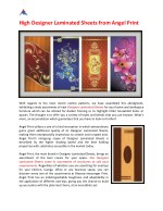 High Designer Laminated Sheets from Angel Print