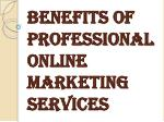 Benefits of Professional Online Marketing Services