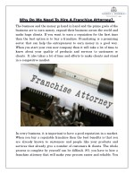 Why Do We Need To Hire A Franchise Attorney?