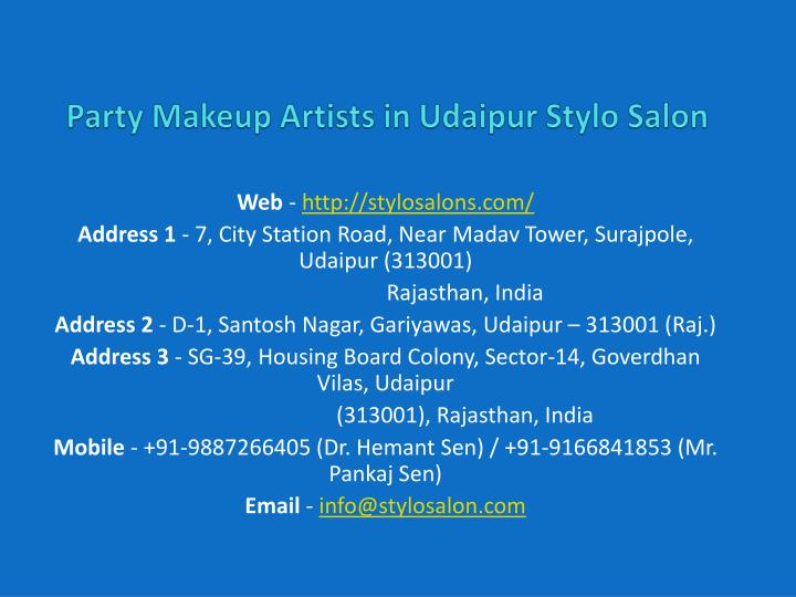 party makeup artists in udaipur stylo salon n.